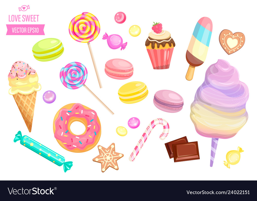 Set of isolated sweets on white background