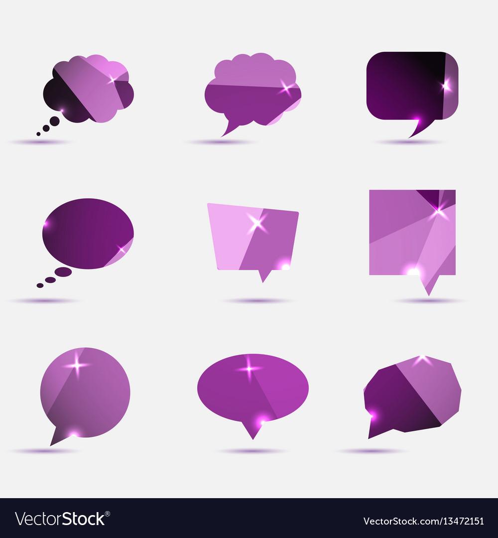 Set of purple polygonal geometric speech bubble vector image
