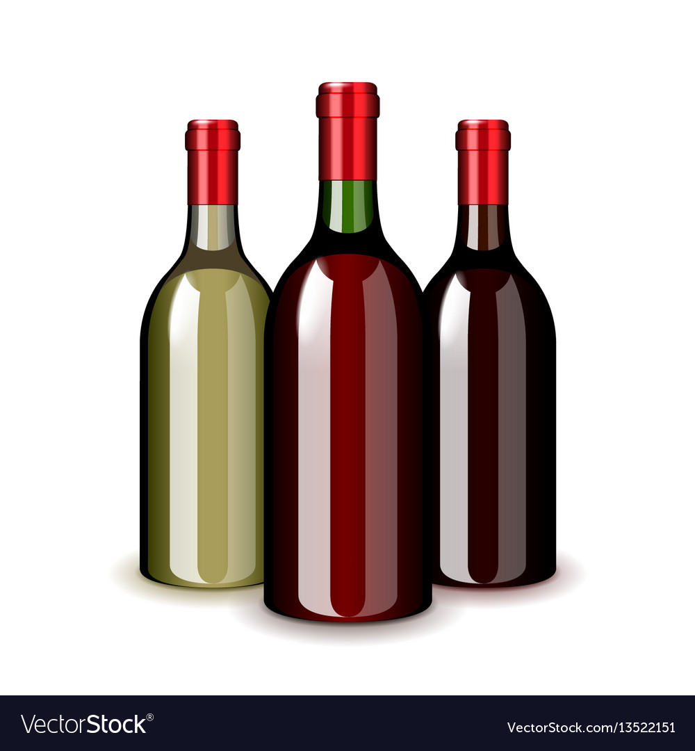 Three wine bottles isolated on white