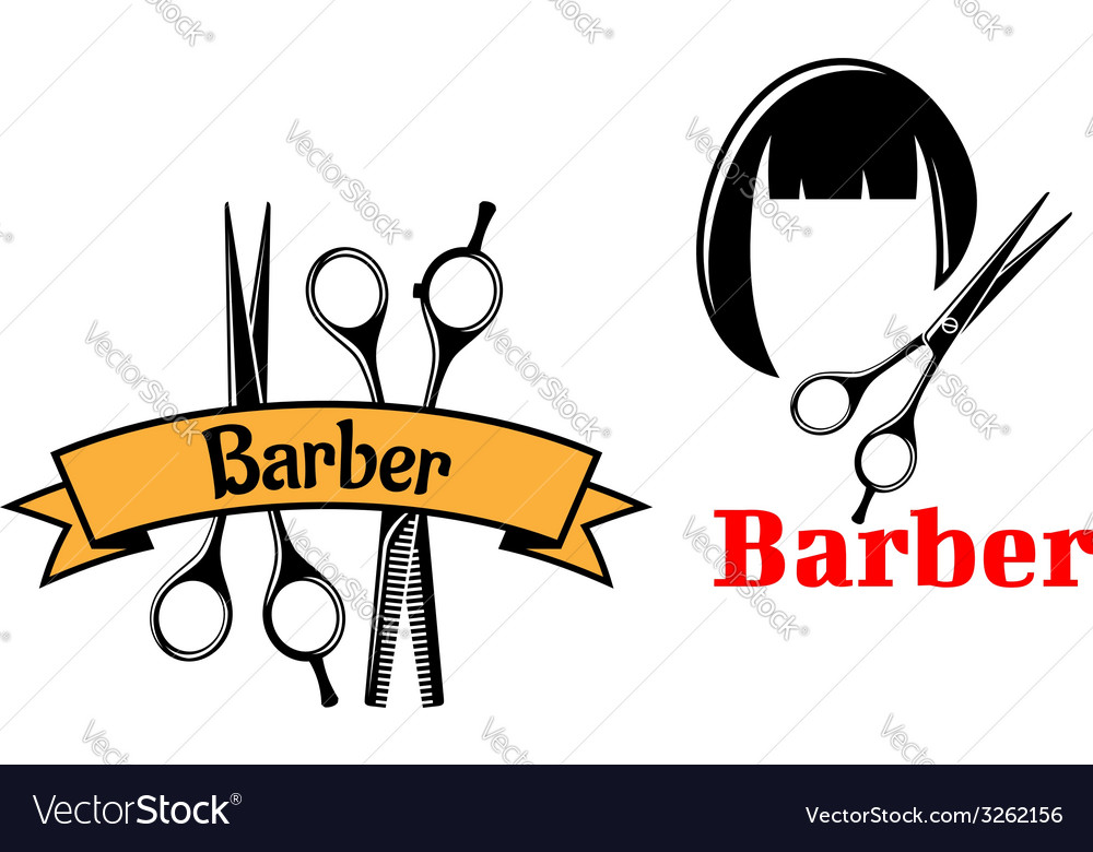 Barber icons and emblems