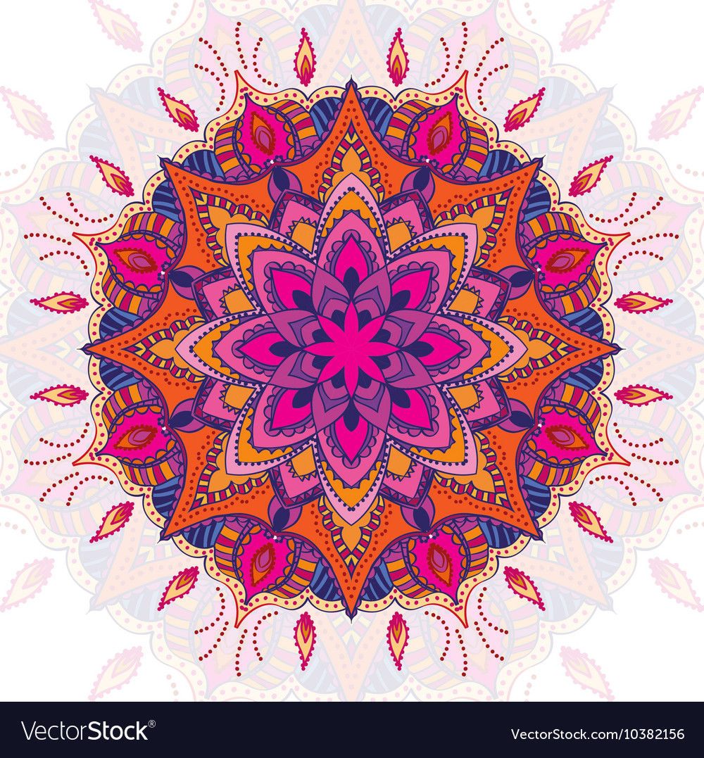 Beautiful colored mandala ornament Vintage vector image