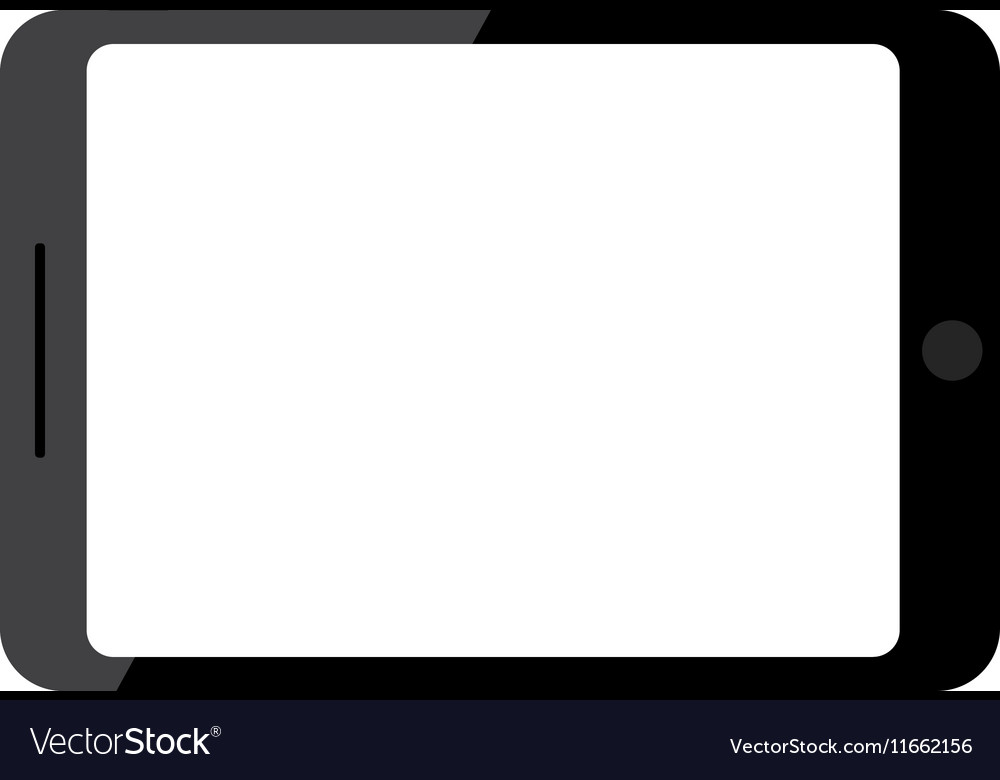 Black tablet Blank screen Isolated on white