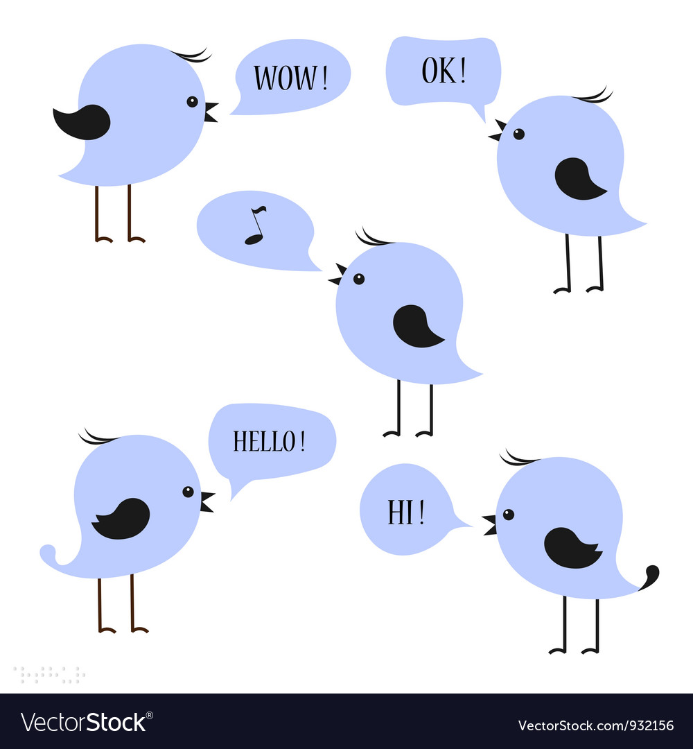 Blue birds with speech bubbles