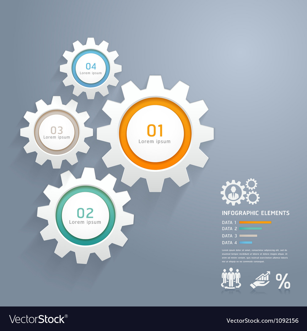 Business gears infographics numbers template vector image