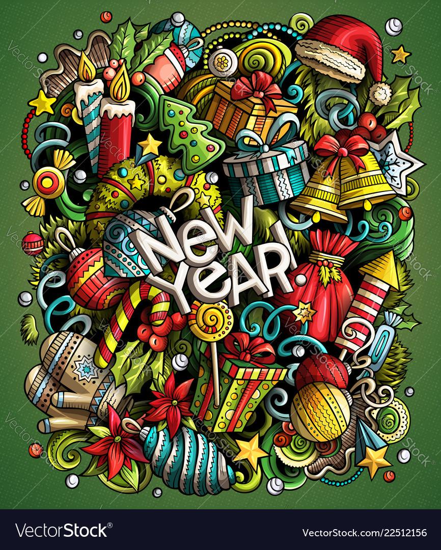 Cartoon doodles new year