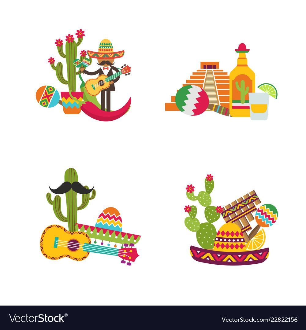 Flat mexico set isolated on white