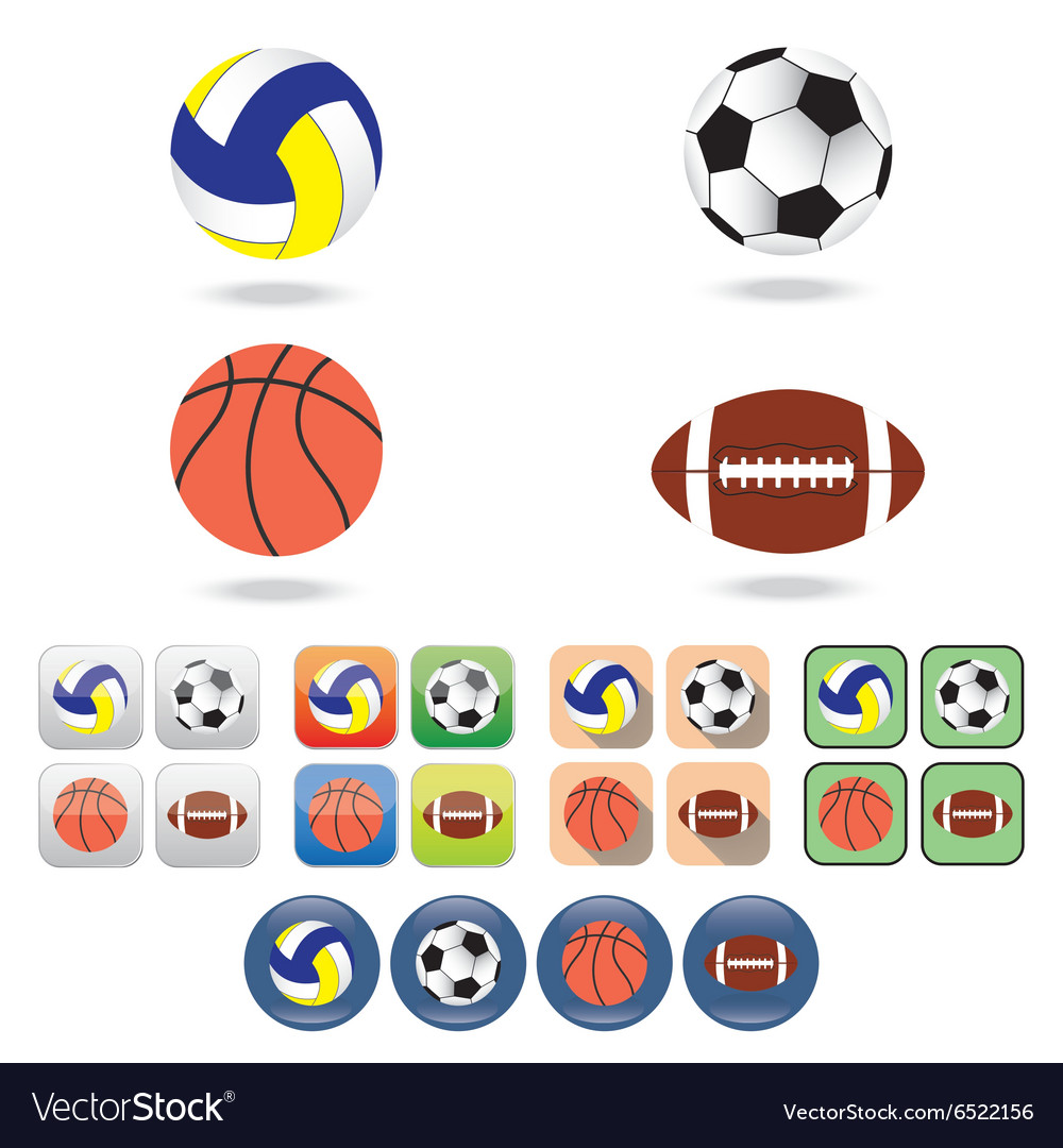 Icons of balls for different sports