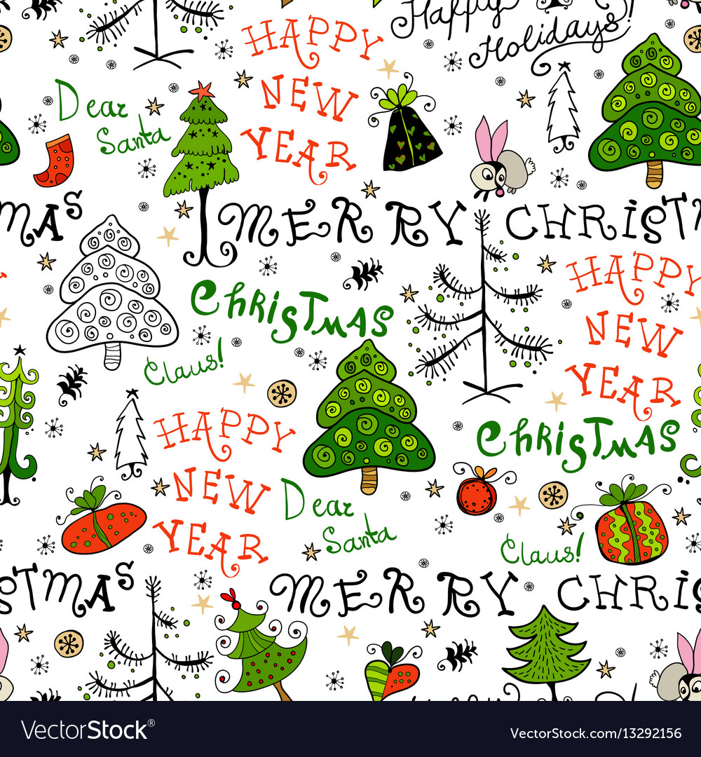 Seamless handwritten pattern with christmas phrase
