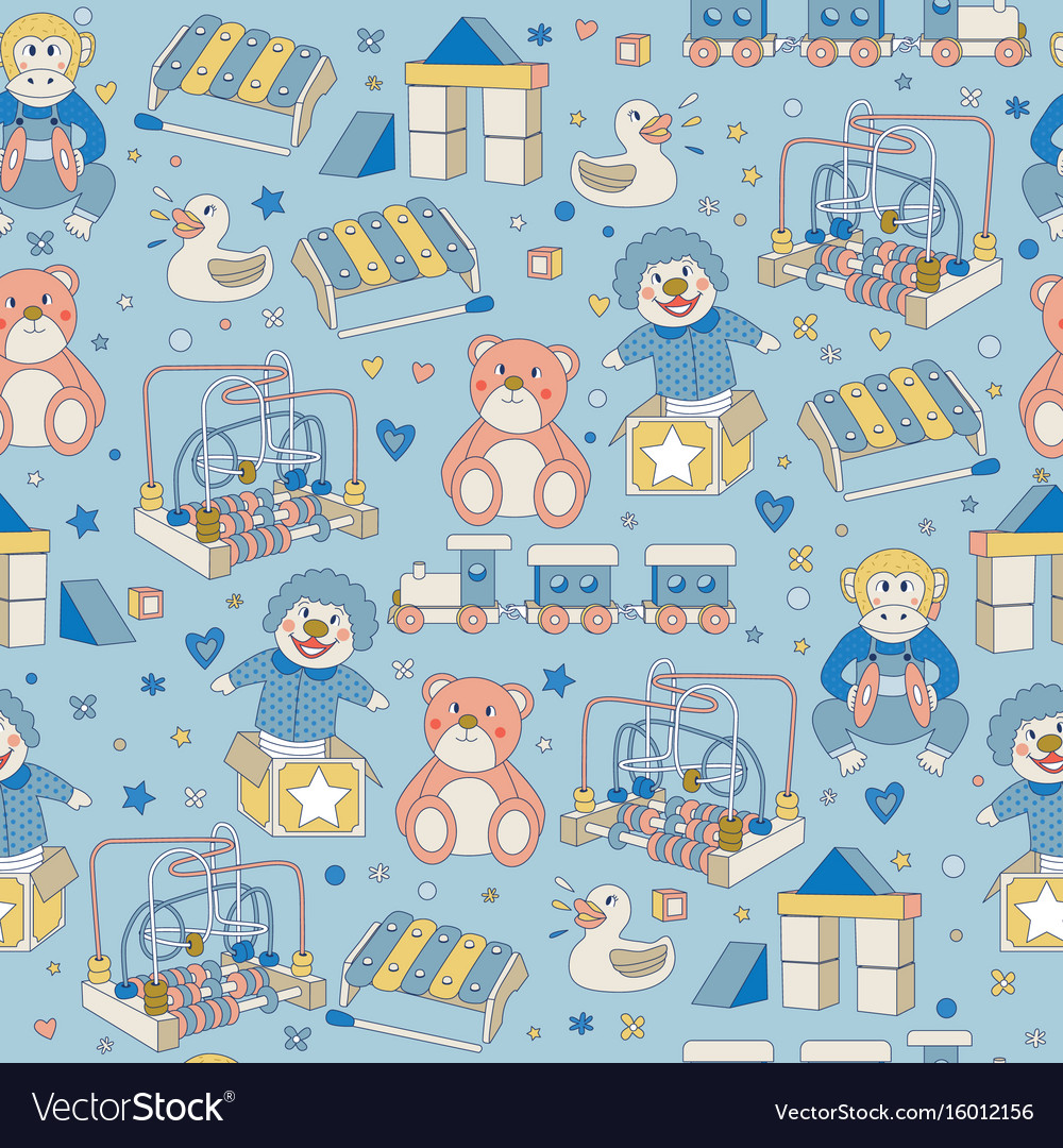 Seamless pattern children vintage toys blue
