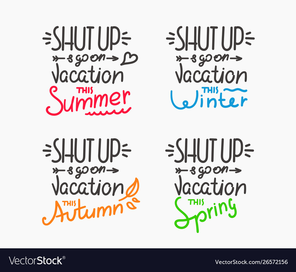 Season vacation motivation inscriptions set