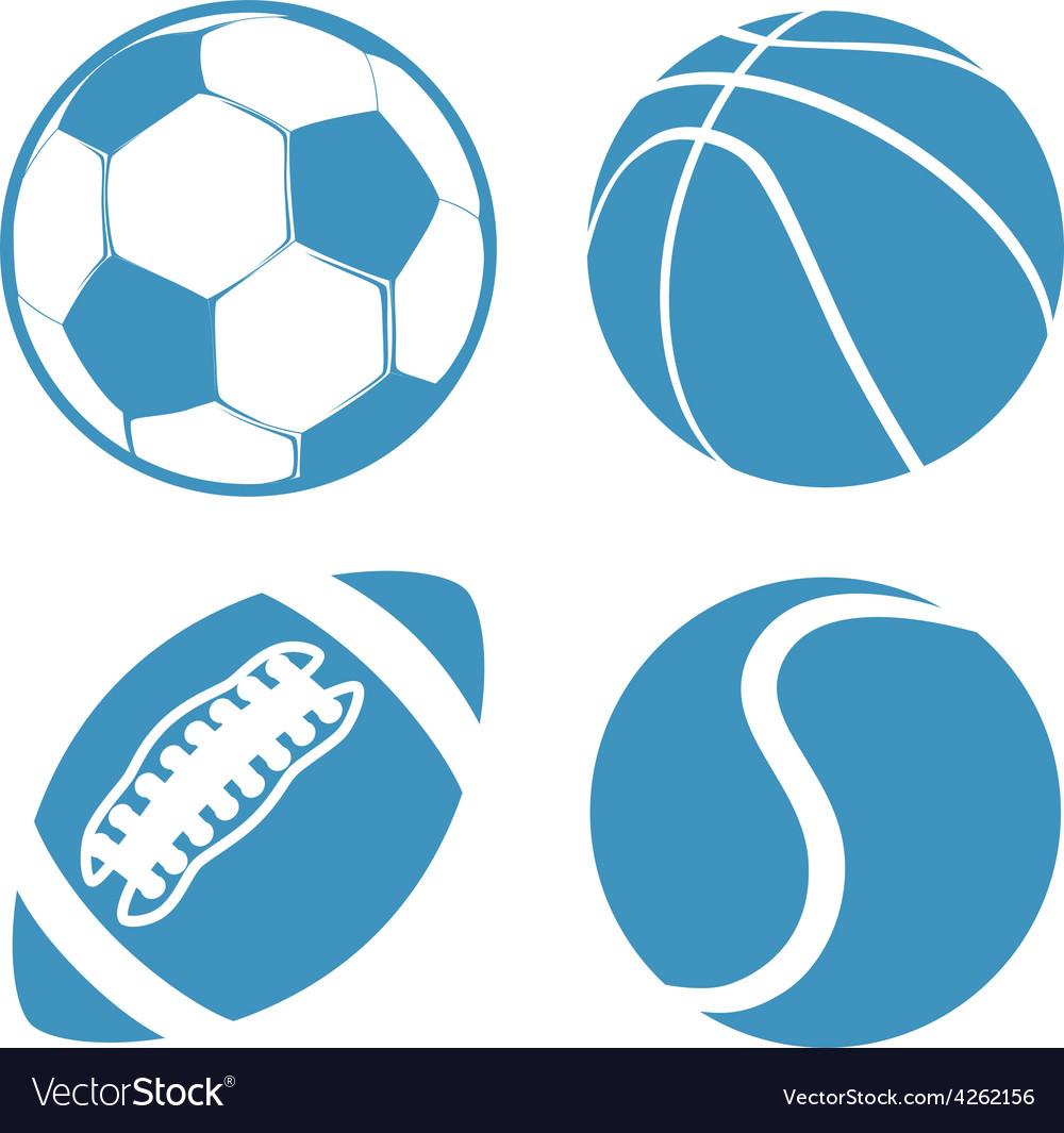 Set of Sports balls Soccer Basketball American