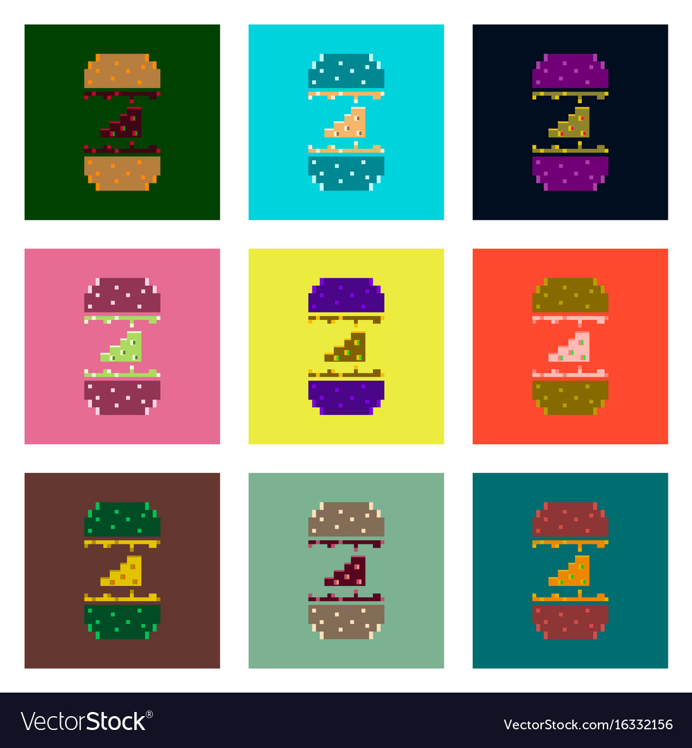 Set pixel icons of cheeseburger vector image