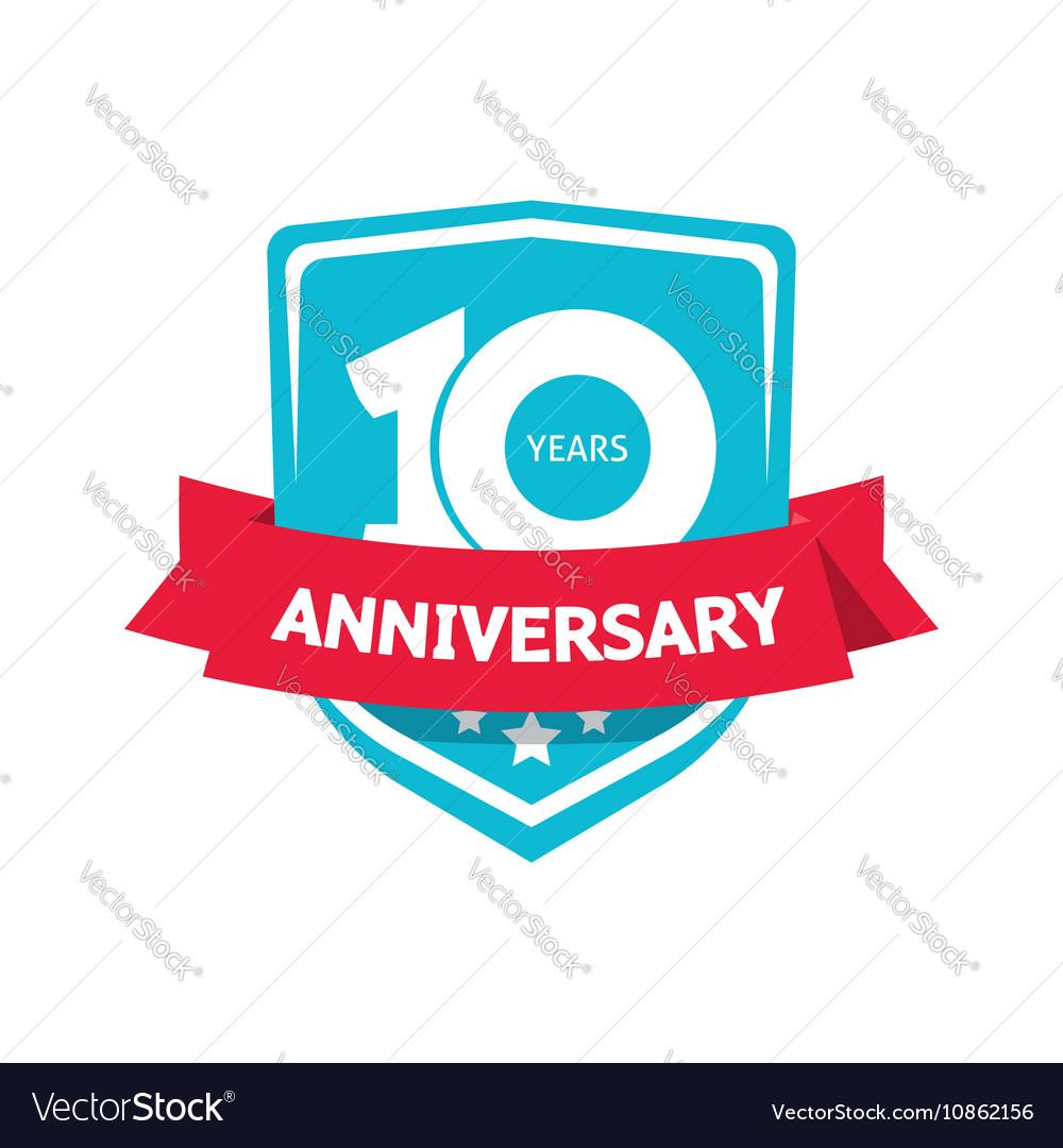 Ten 10 years anniversary sticker blue 10th