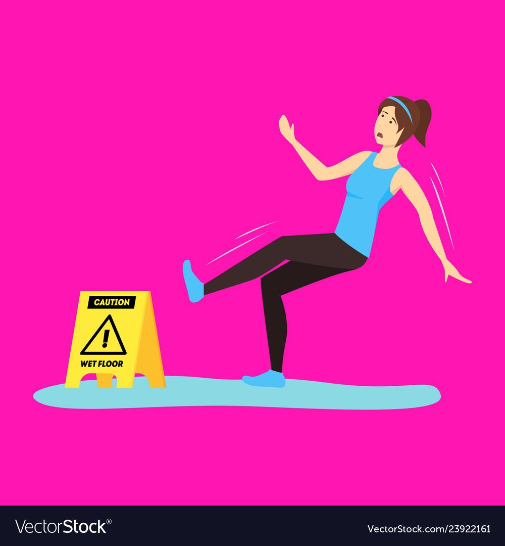 Cartoon caution wet floor with character girl