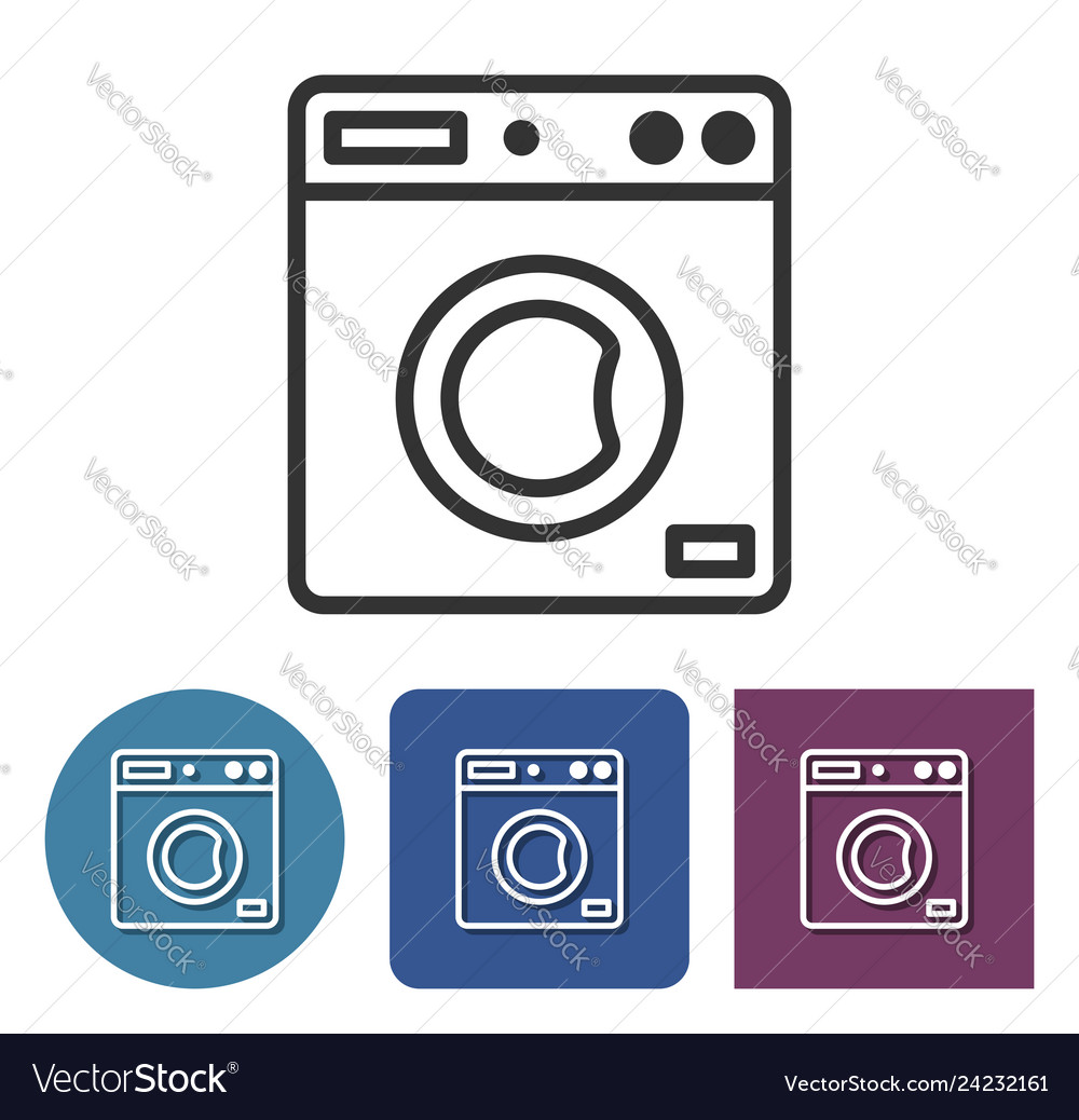 Clothes washer line icon in different variants