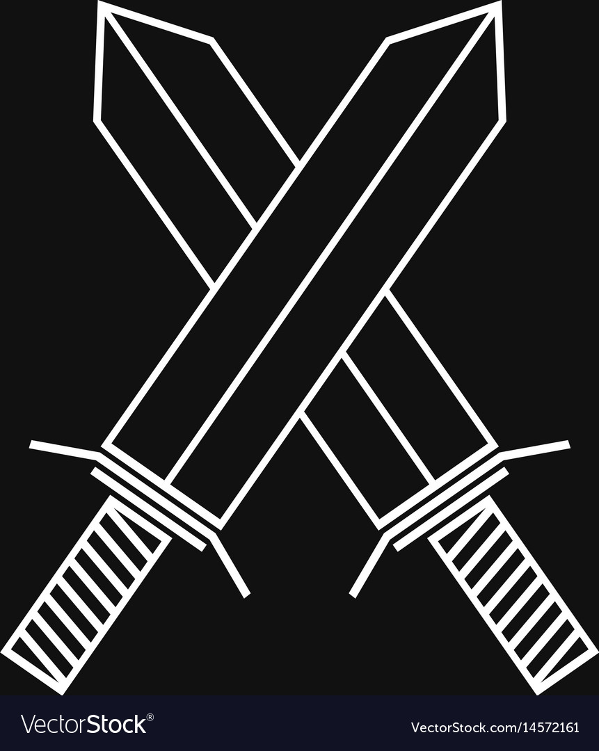 Crossed swords linear icon vector image