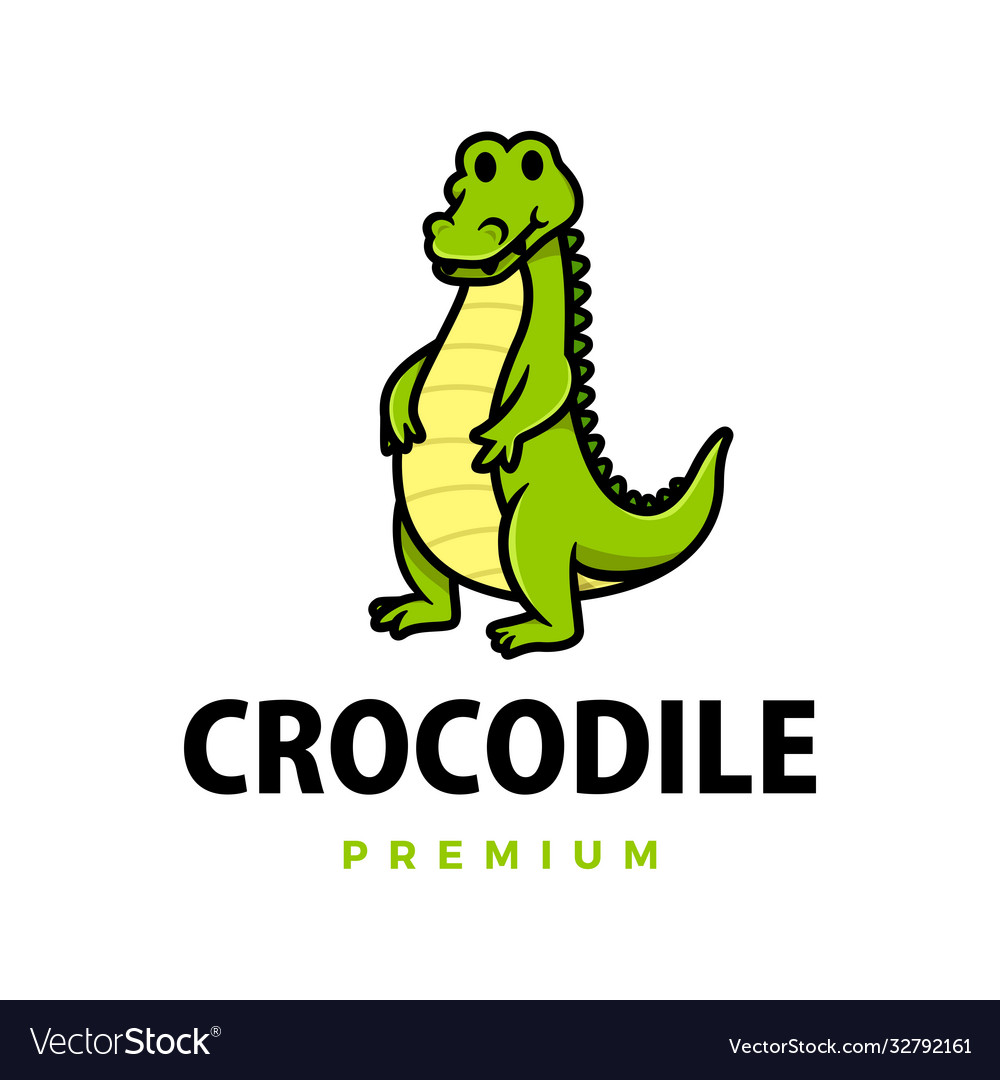 Cute crocodile cartoon logo icon
