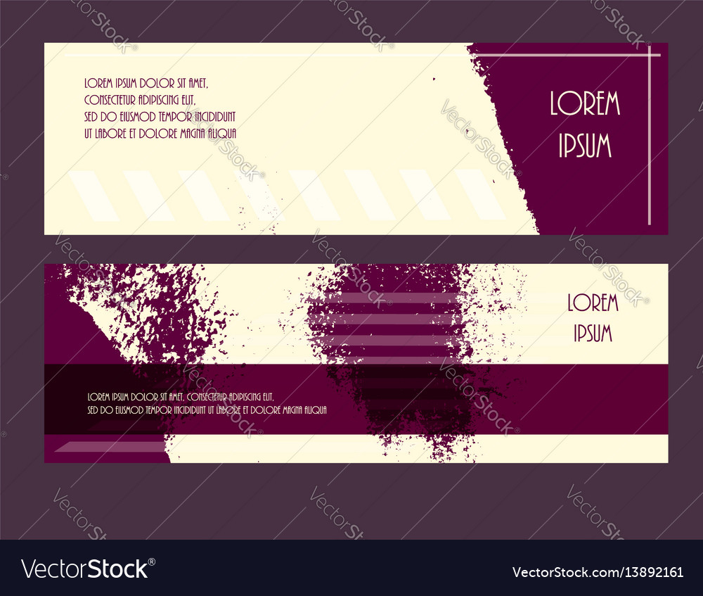 Flyer grunge style texture purple yellow set