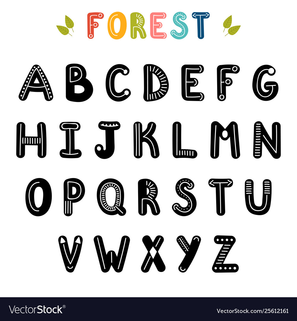 Hand drawn english alphabet cute letters with