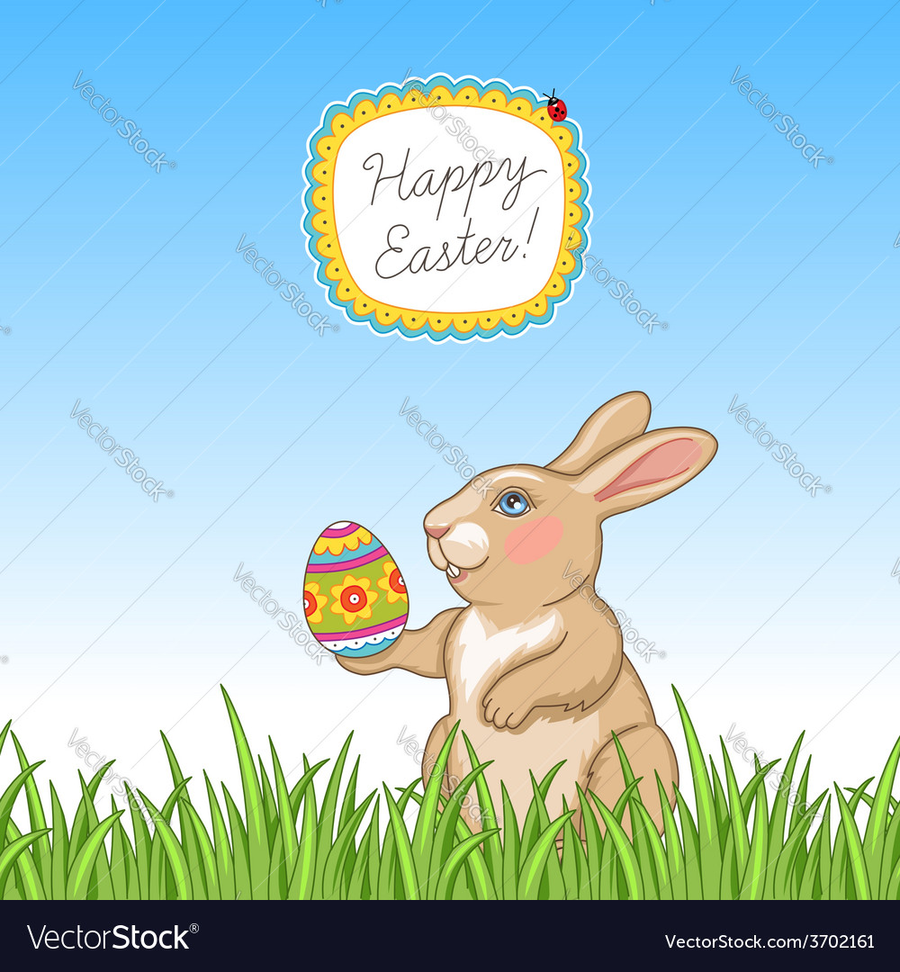Happy easter card grass