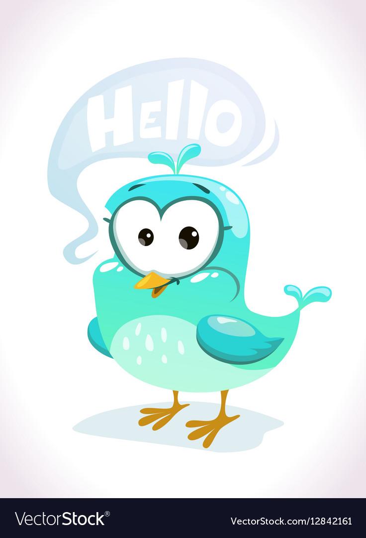 Little cute cartoon blue bird character
