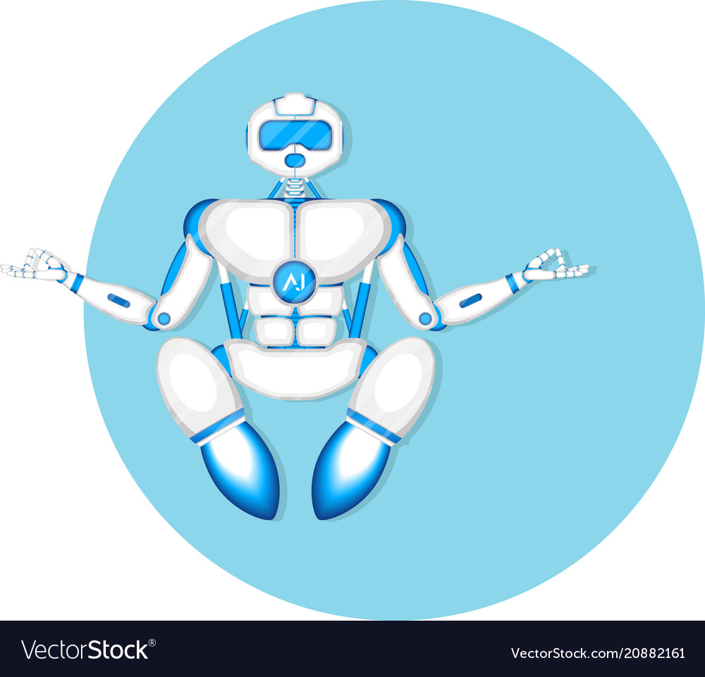 Modern robot in meditation yoga pose