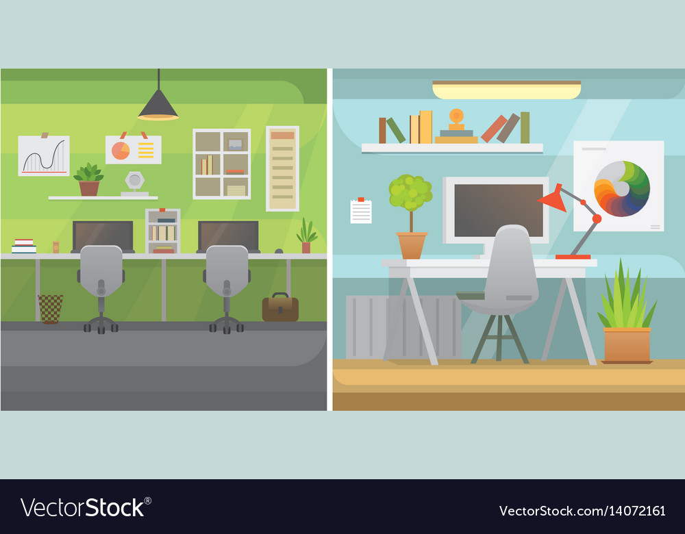 Office interiors horizontal banners bussines