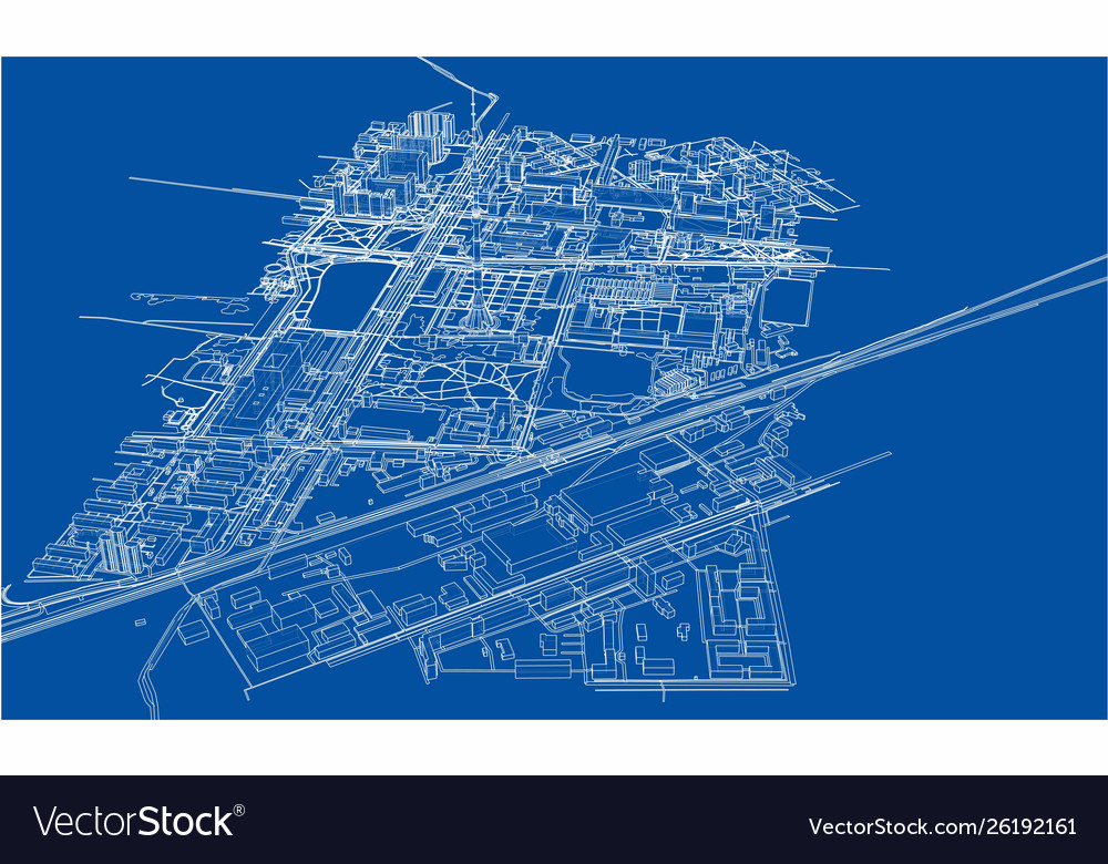 Outline city concept wire-frame style