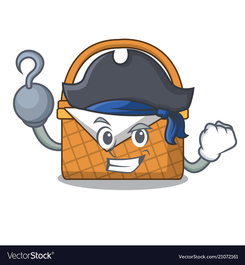 Pirate picnic basket character cartoon vector image