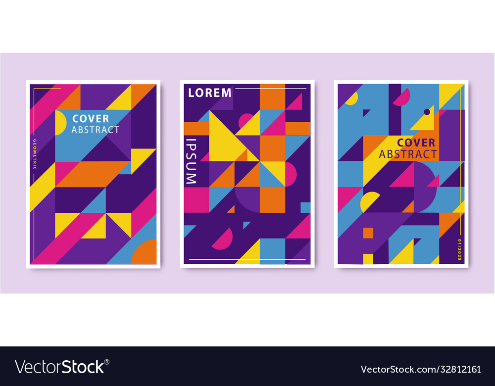 Set abstract retro graphic design covers