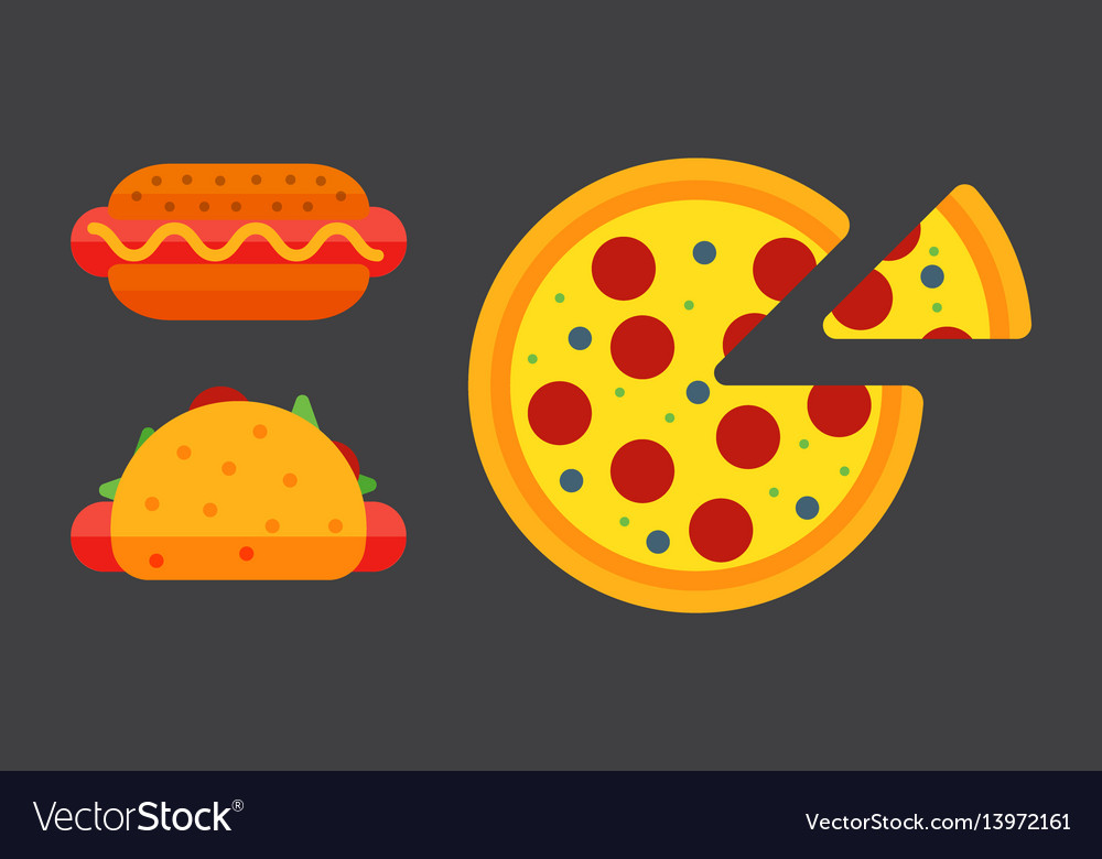 Set of colorful cartoon fast food pizza icons