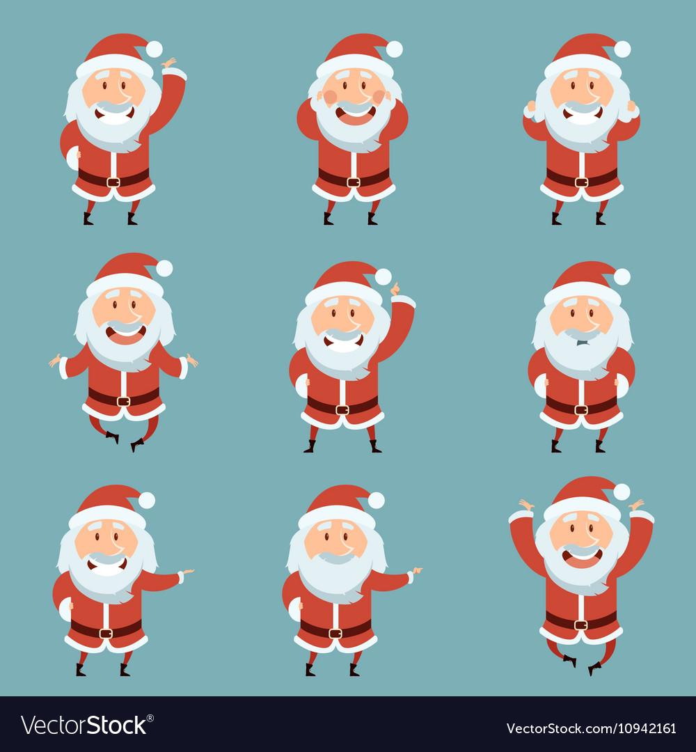 Set of Santa Claus Flat icons