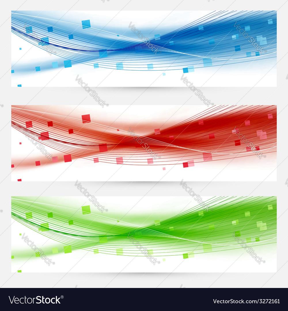Set of swoosh speed wave abstract web headers vector image