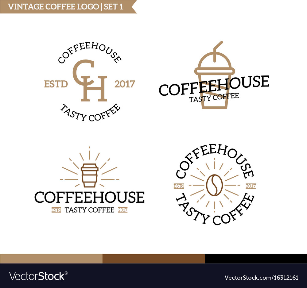 Set of vintage coffee shop logo badge and element