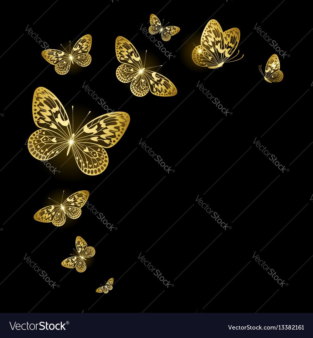 Stylized gold butterflies