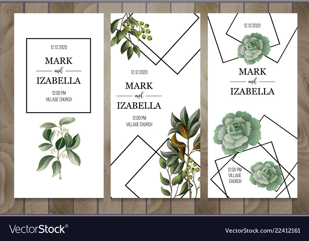 Wedding invitation with leaves succulent