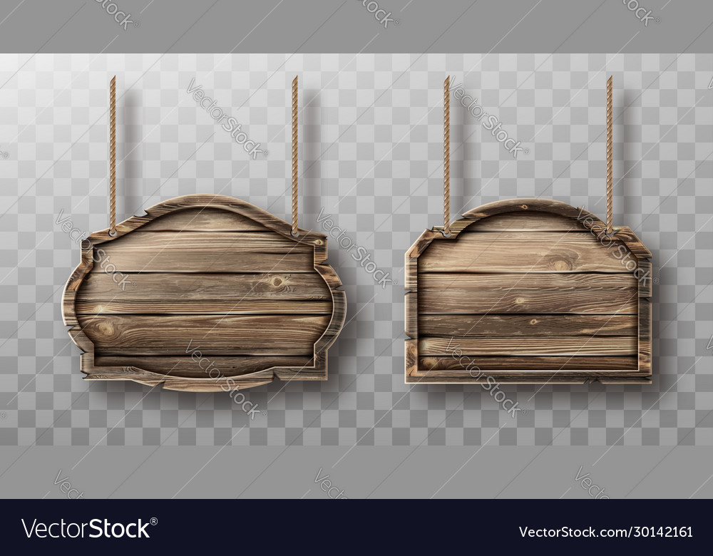Wooden boards on ropes set realistic signboards