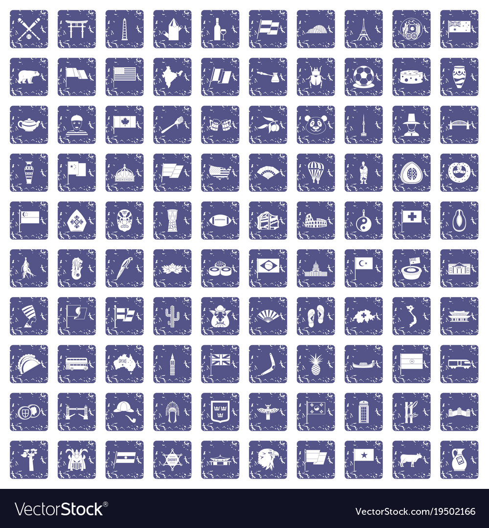 100 national flag icons set grunge sapphire