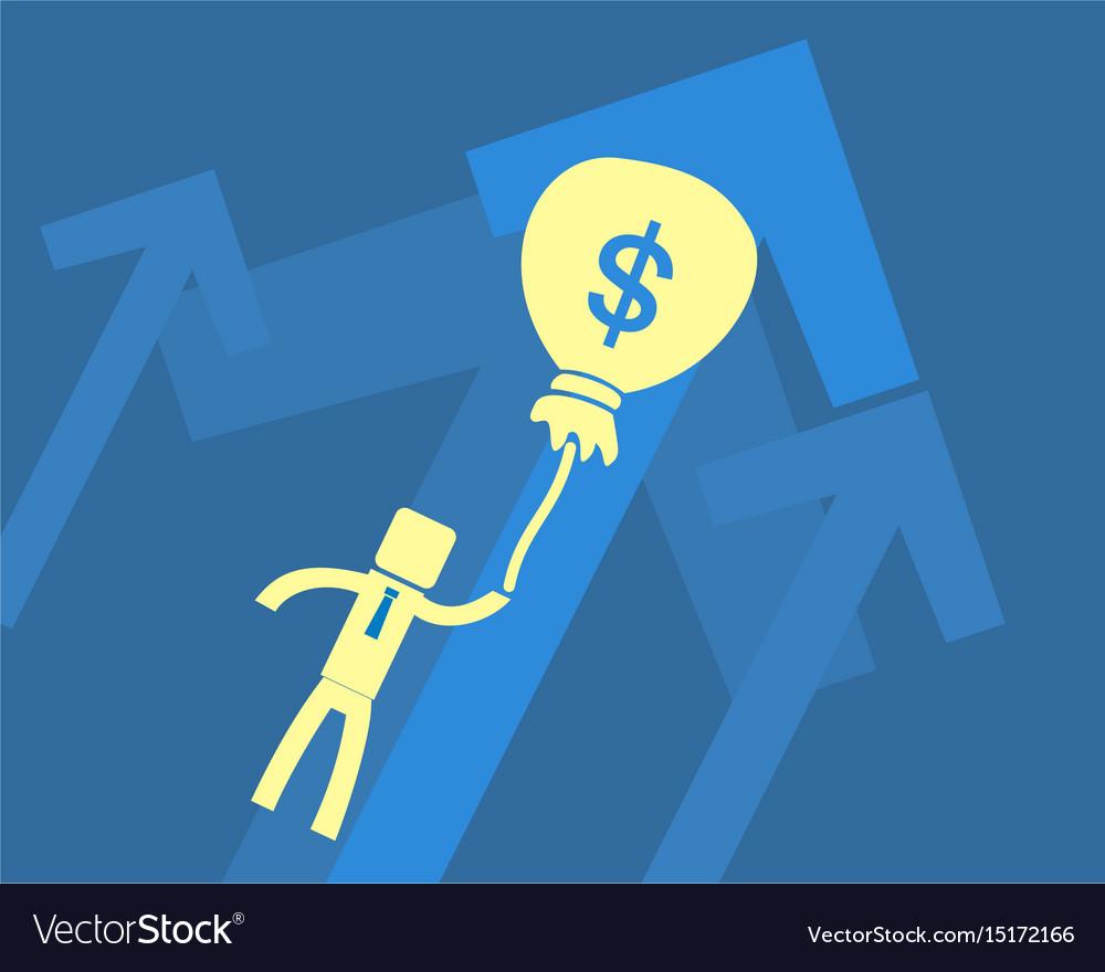Business success concept businessman flies on a