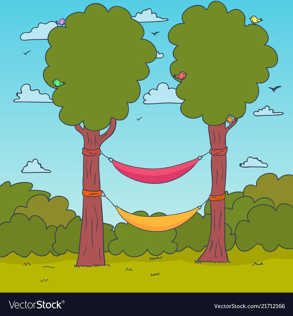 Cartoon nature background hammocks on a tree