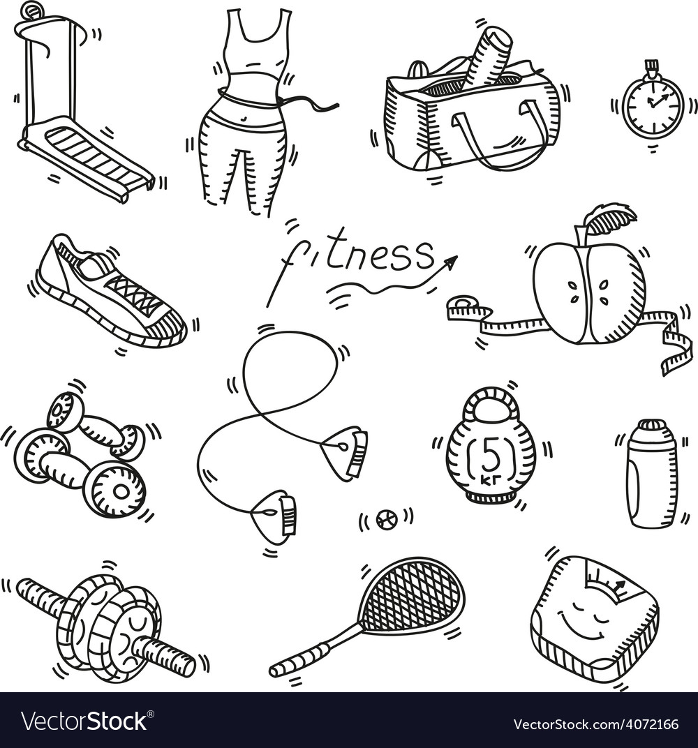 Hand drawn doodle sketch icons set fitness and