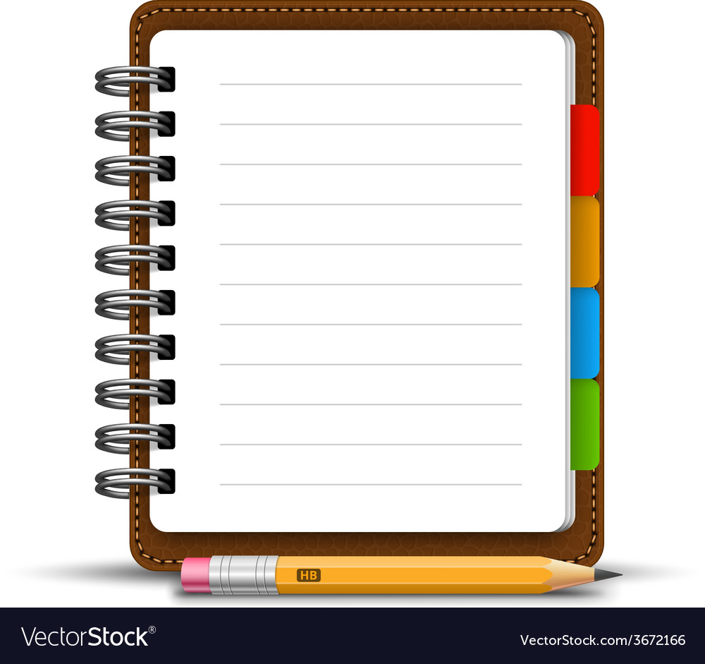 leather notebook royalty free vector image vectorstock rh vectorstock com notebook vectorworks notebook vector free download