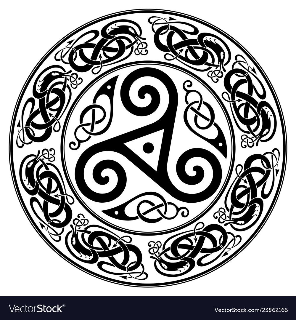 Round celtic design triskele and celtic pattern