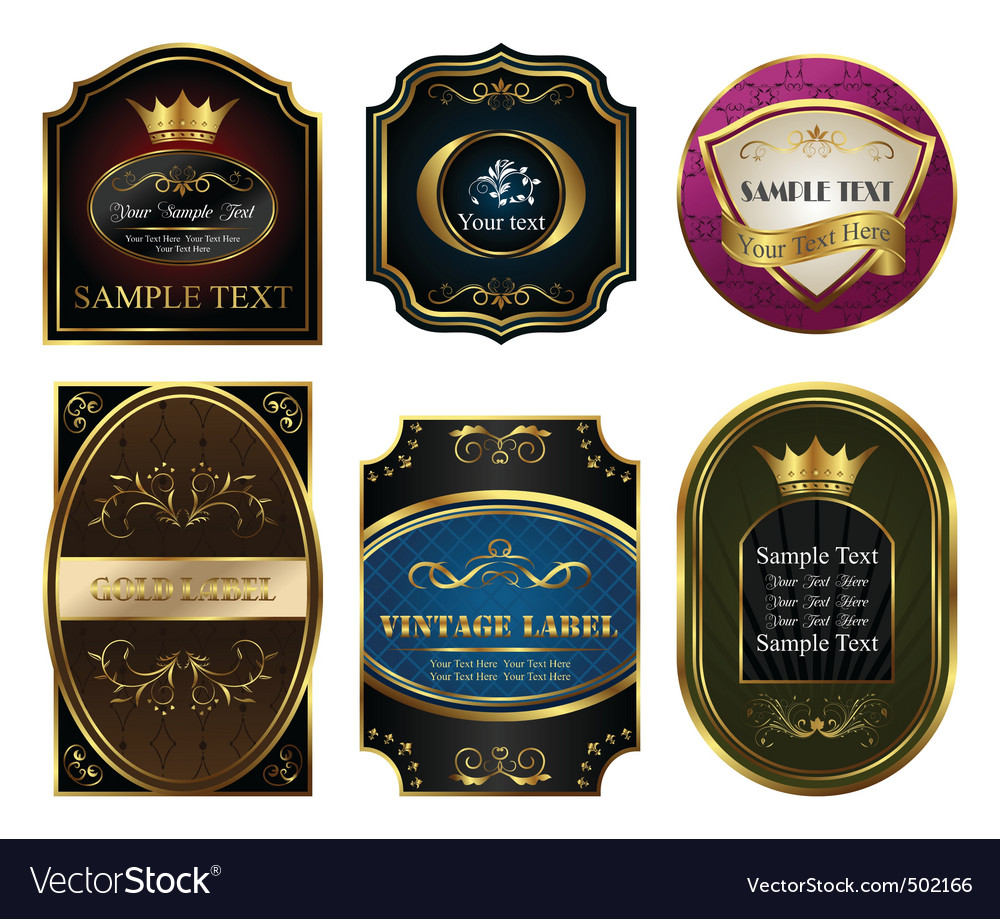 Set colored gold framed labels