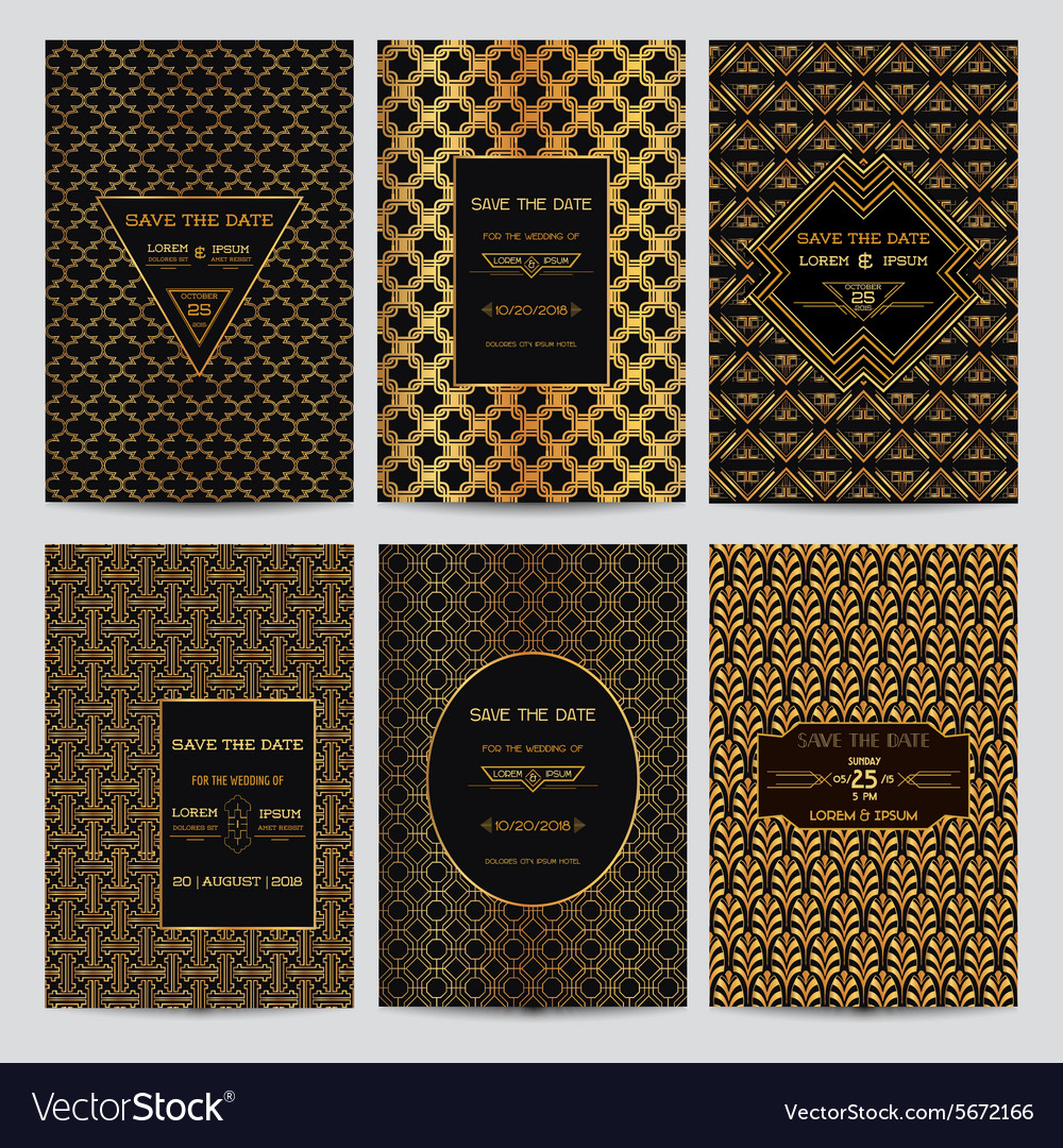 set of wedding invitation cards art deco style vector image