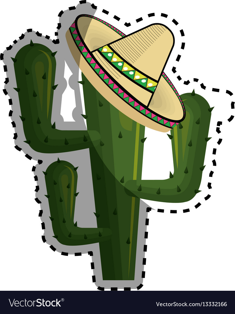 Sticker cactus with mexican hat with thorns
