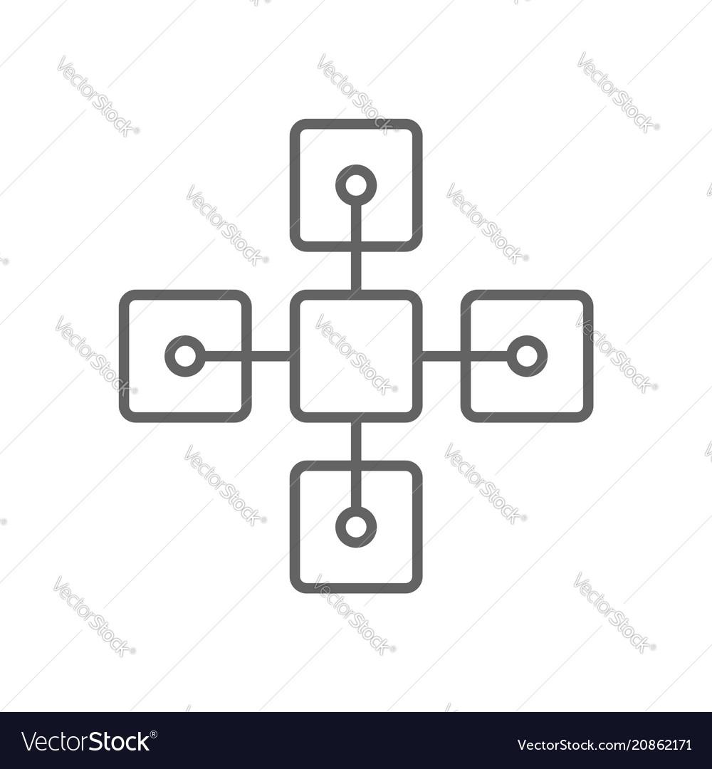 Blockchain bitcoin related thin line symbol icon