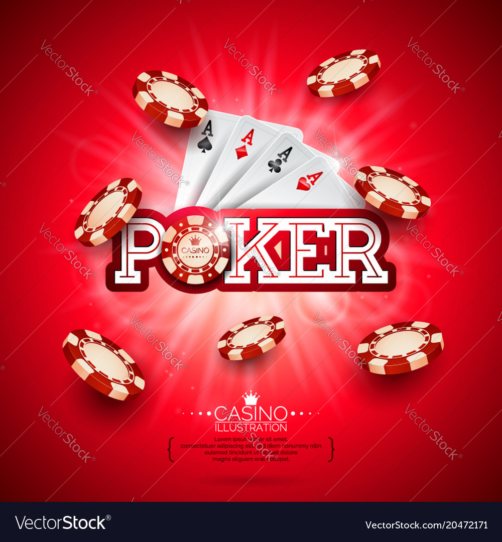 Casino with poker card and playing vector image