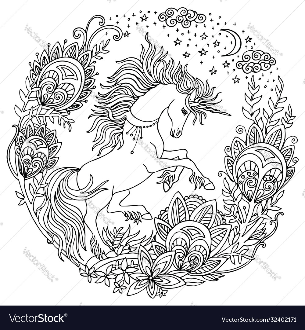 Coloring unicorn 3 vector