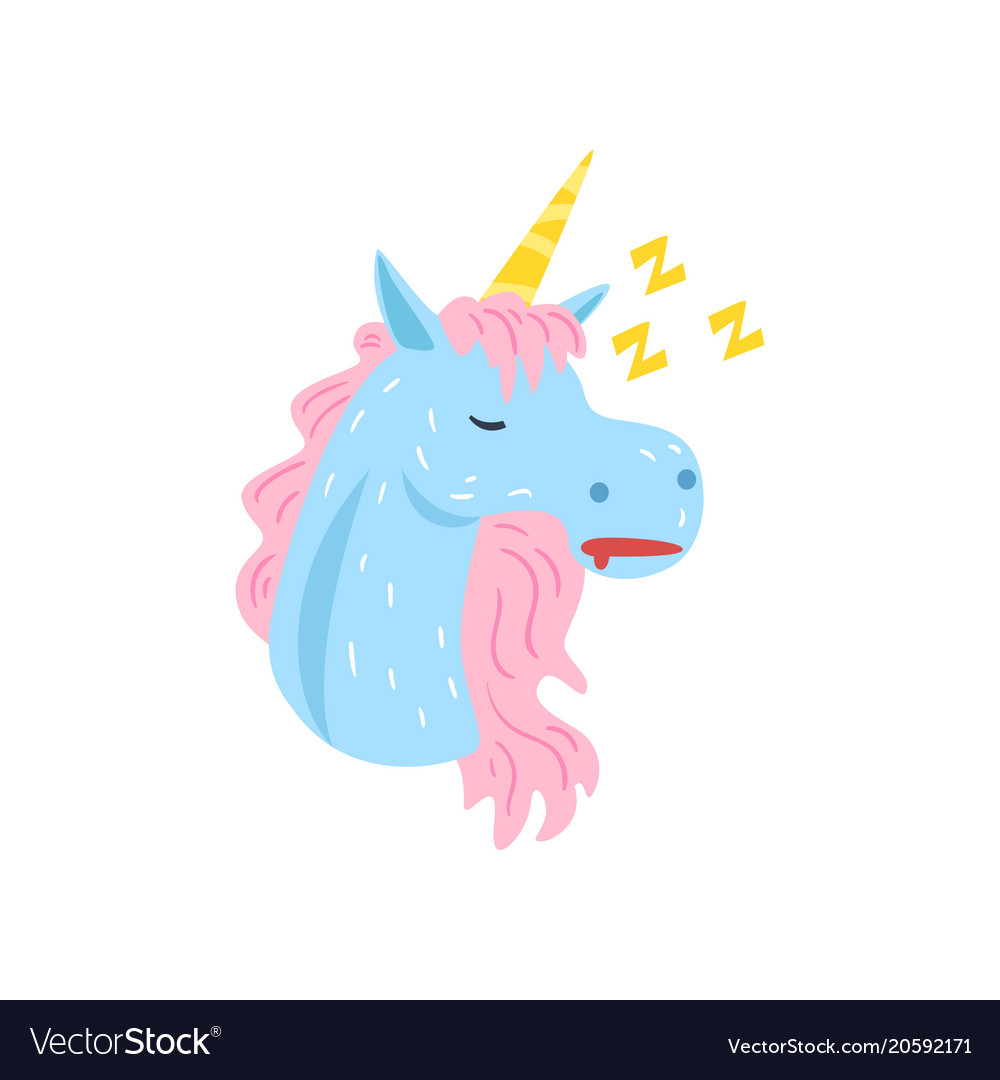 Cute Funny Unicorn Character Sleeping And Snoring Vector Image